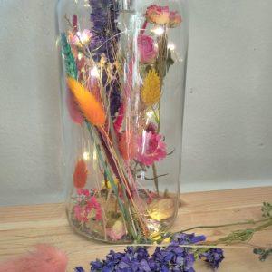 Lichtjes fles & droogbloemen