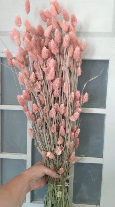 boeket droogbloemen roze