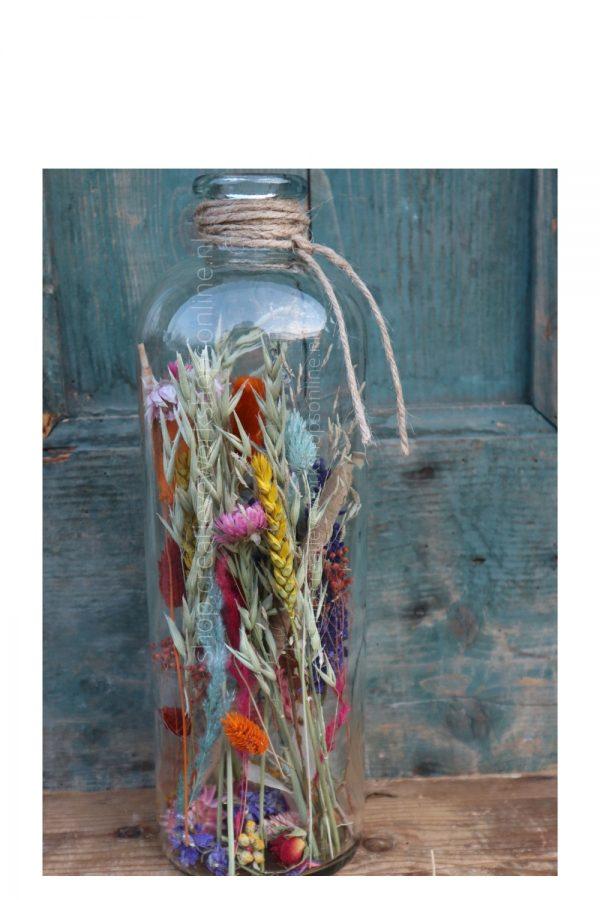 Droogbloemen schikken in fles